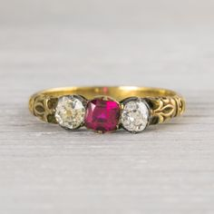 Vintage Gold and Ruby Victorian Engagement Ring | Erstwhile Jewelry Co.