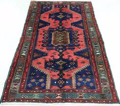 4 x 7 PERSIAN ZANJAN Tribal Hand Knotted Wool SALMON RED BLUE Oriental Rug #PersianZanjanTribalNomadicGeometric