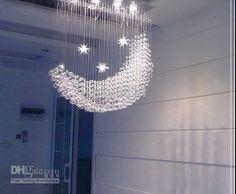 トップセールスの月や星の現代水晶シャンデリアL600 * W250 * H750mm、素敵なダイニングルームクリスタルランプ
