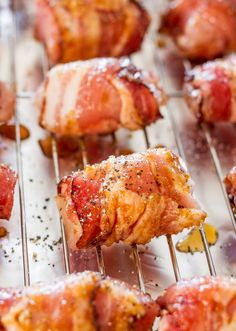Sweet Chicken Bacon Bites - Perfectly seasoned chicken pieces, wrapped in glorious bacon, rolled in brown sugar and baked to golden perfection. Need I say more?