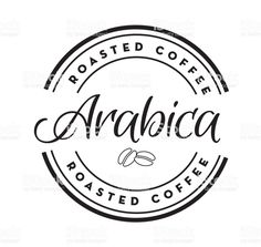 Arabica Coffee Round Labels On Coffee Bean Textured Background Illustration , Round Labels, Book And Magazine, Free Vector Art, Label Design, Graphic Design Inspiration, Coffee Beans, Textured Background, App Design, Design Elements