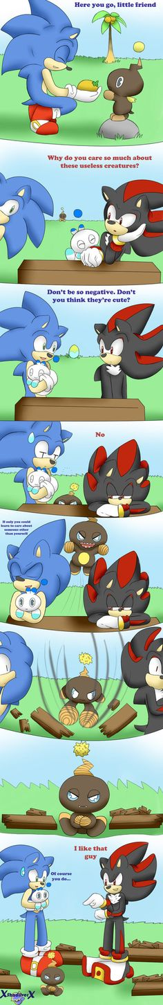 Sonic the Hedgehog and Shadow the Hedgehog have a discussion about Chao... And why am I not surprised Shadow likes that one? *Starts laughing*