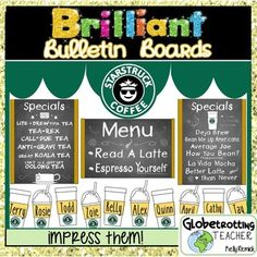Bulletin Board Set Starbucks Coffee Theme (Editable) with puns Welcome Bulletin Boards, Reading Bulletin Boards, Classroom Reading Nook, Teacher Classroom Decorations, Classroom Themes, Middle School Classroom, Middle School Libraries, Welcome Back To School, Coffee Theme