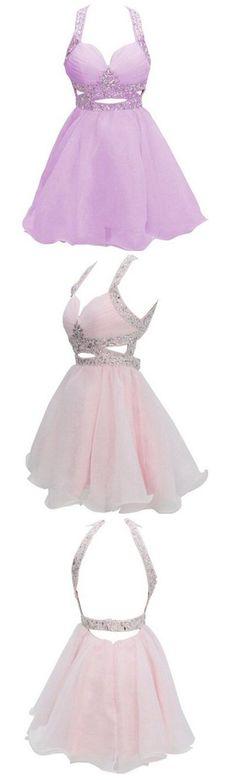 U0071, pink,with beads, Short Homecoming Dress,Spaghetti, open back dress