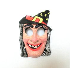 Vintage Classic Witch Mask Halloween Mask by PatinaCulture on Etsy, $15.00