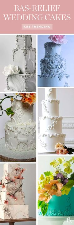 Bas relief wedding cakes are totally trending. Get all the info on these beautiful sculptured cakes here. #weddingcakes #sculpture #weddingtrends #weddingcaketrends