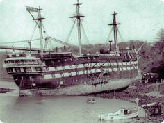 HMS Conway wrecked while passing through the Menai Strait known as the Swellies on April Uss Constitution, Old Sailing Ships, Ship Of The Line, Abandoned Ships, Ghost Ship, Wooden Ship, Navy Ships, Model Ships, Royal Navy