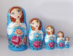 Russian Nesting dolls Blue Matryoshka Russian Roses Flowers Zhostovo Gift for mom set of 5 pieces Folk art Handmade work