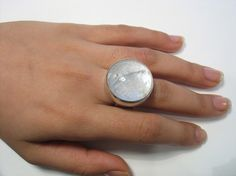The Ice Galaxy  sterling silver and glass ring by yutal on Etsy
