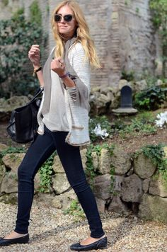 Great layers for spring in Italy... and love the ballerina shoes!