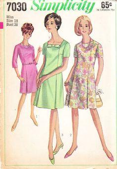 Simplicity 7030 A Mccalls Sewing Patterns, Simplicity Sewing Patterns, Vintage Sewing Patterns, Dress Patterns, Vintage Skirt, Vintage Dresses, Jumpsuit Pattern, One Piece Dress, Dress Making