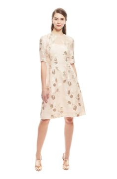 Lela Rose Tulip Fil Coupe Holly Elbow Sleeve Dress
