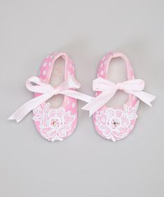 Look at this #zulilyfind! Pink & White Polka Dot Lace Booties by Enchanted Fairyware Couture #zulilyfinds
