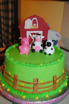 Pig, cow, sheep, and barn are fondant, the rest is buttercream