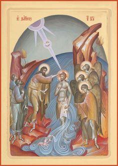 Jesus Tattoo, Byzantine Art, Byzantine Icons, Religious Icons, Religious Art, Baptism Of Christ, Sacred Heart Tattoos, Trinidad, Virgin Mary