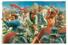 Dacians attacking the Roman lines. Falxmn are beggining to bring down their falxes on Roman shields. The Dacians wave a standard called a Draco, later to be adopted by the Romans.
