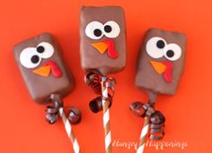 Chocolate dipped Rice Krispie Treat Turkeys decorated with candy clay are perfect treats for Thanksgiving.