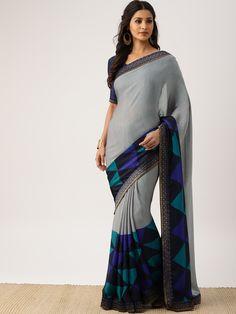Grey Saree, Desi, Elegant, Style, Fashion, Classy, Swag, Moda, Stylus