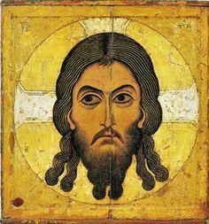 """""""Minä olen se, joka olen."""" (2.Moos.3:14). Käsittätehty KristusNovgorodilainen ikoni 1100-lukuKuva: Wikipedia"""