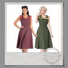 #Retro style #dress with #dot fabric #design. #Fitted #bodice with #collared #neckline