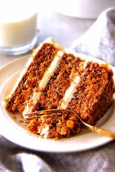 This is the BEST Layered Carrot Cake Recipe you will make - or so says everyone who has tasted it! Moist, spiced perfectly, and THE FROSTING!!!!