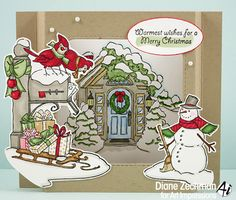 Art Impressions Rubber Stamps: Christmas Scene shadow box card by Diane Zechman