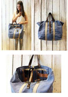 POSILLIPO BAG Handmade Italian Leather & Canvas Tote Handbag di LaSellerieLimited su Etsy