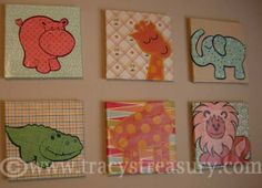 DIY Nursery wall-art canvases! Scrapbook paper + mod podge on canvases or box lids.