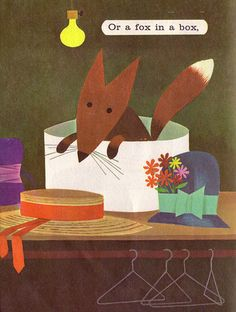 """A fox in a box from the 1966 picture book """"A Dragon In A Wagon"""" by Janet Rainwater"""