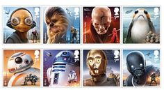"""The UK's Royal Mail is issuing a new series of Star Wars postage stamps to celebrate the December release of Star Wars: The Last Jedi. """"Beautifully illustrated by UK digital artist, Mal…"""