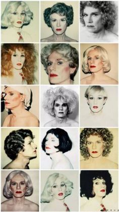 Warhol in Drag ~  Andy Warhol and Photographer Christopher Makos worked on this Series of Self-Portraits. 1980's