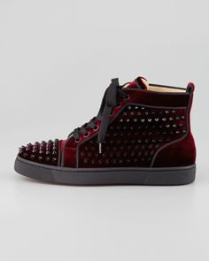 Christian Louboutin Louis Orlato Spiked High-Top Sneaker, Rouge - Neiman Marcus
