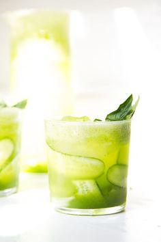 sparkling cucumber and basil lemonade