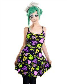 RITUAL DRESS - ALIEN OCCULT by Rat Baby Clothing. - #infectiousthreads #goth #gothic #gothfashion #gothicclothing #horrorpunk #punk #alt #alternative #psychobilly #punkrock #black #fashion #clothes #clothing #darkfashion #streetfashion #UCG #upperclassgoth #ufodress