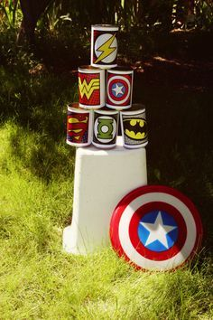 Shield Throwing Station- super hero training camp. This entire pin has great games that would be easy to put together. Super hero training! More