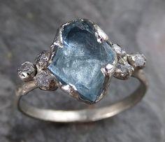 Raw Uncut Aquamarine Diamond Gold Engagement Ring Wedding White Ring Custom One Of a Kind Gemstone Bespoke Three stone Ring byAngeline 0196