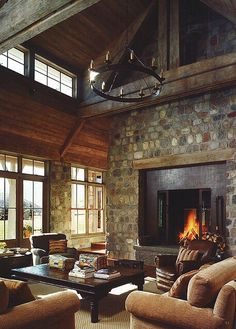 Rustic elegance fireplace/I like the rock on this fire place Cabin Homes, Log Homes, Boho Home, Wood Ceilings, High Ceilings, Deco Design, Rustic Elegance, Home Living Room, Barn Living