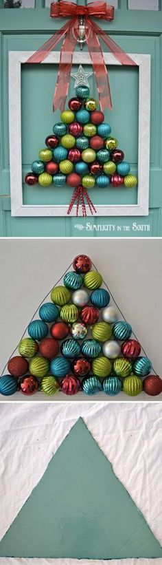 Framed Christmas Tree Ornament Wreath. More