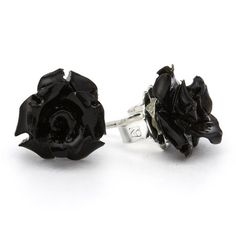 Mini Black Rose Earrings by RockLove Jewellry $24
