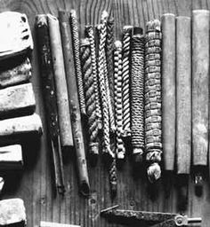 Some of the silk woven cords used by Tatsuzo Shimaoka to texture his pottery.