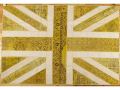 YELLOW UNION JACK PATCHWORK overdyed rug