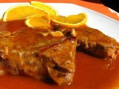 Bifes de vitela com molho de laranja