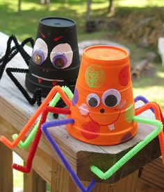 "These spiders can be made from paper or foam cups. We have provided a cute friendly version as well as a traditional ""scary"" version appropriate for Halloween. Have fun with this cute Halloween craft!"