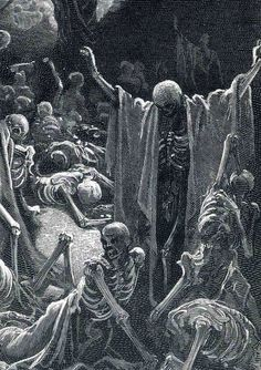 Vision of the Valley of Dry Bones by Gustave Dore illustration for Dante's Divine Comedy (detail) Gustave Dore, Gravure Illustration, Illustration Art, Dark Fantasy Art, Dark Art, Valley Of Dry Bones, Creation Art, Arte Obscura, Occult Art