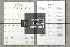 Monthly Planner 2017-2018 (MP11) by mikhailmorosin on @Graphicsauthor