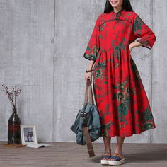 Casual Loose Fitting  Cotton and Linen Long Dress-  Red - Women Maxi dress by deboy2000 on Etsy https://www.etsy.com/listing/230442483/casual-loose-fitting-cotton-and-linen