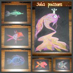 """Jolis poissons inspirés de l'album """"Aujourd'hui je suis"""" (Vrolijk) de Mies van Hout Creations, Album, Painting, Art, Pretty Fish, Leprechaun, Pisces, Sketch, Reading"""