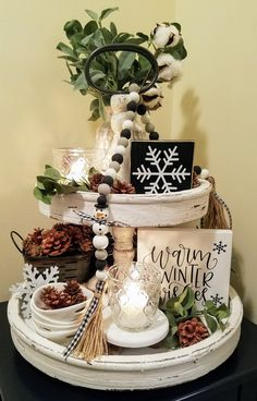 Christmas Centerpieces, Xmas Decorations, Winter Home Decor, Tiered Stand, Back To Nature, Tray Decor, Seasonal Decor, Decor Crafts, Simple Christmas