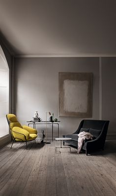 Beautiful moody living room decoration with gray color room, polished floor, yellow and black color sofa chair with beautiful accents & accessories. It's a modern and classic moody living room decoration idea. Interior Exterior, Interior Architecture, Style At Home, Home Fashion, Interiores Design, Colorful Interiors, Home And Living, Interior Inspiration, Room Inspiration
