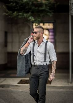 Tattoos, suspenders & suittrousers, fade, and bread... fantastic style